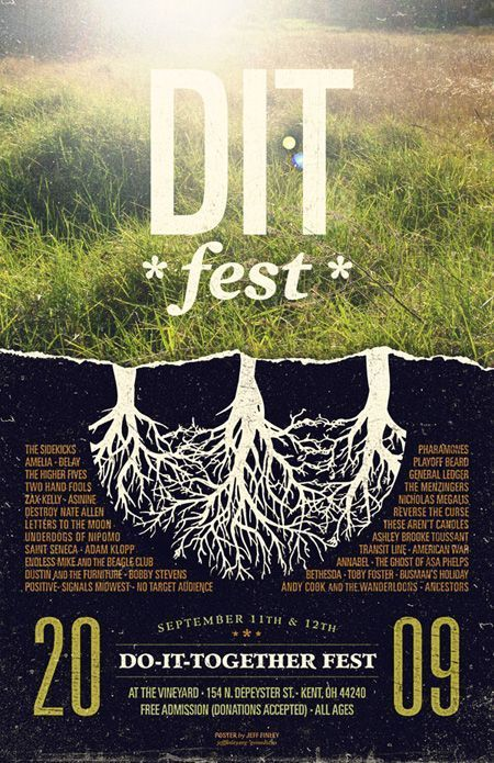 Festival Event Poster, design by Jeff Finly. In another creative example, this designer has used a nice balance of photography and graphic design to create an interesting composition with an organic feel.