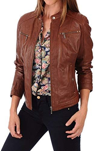 BENJER Skins Womens Lambskin Leather Bomber Motorcycle Jacket