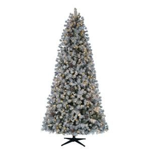 Home Accents Holiday 9 Ft Pre Lit Led Flocked Lexington Pine Artificial Christmas Tree With 500 Warm White Lights Tg90m3c03l05 The Home Depot White Christmas Trees Led Christmas Tree Lights Artificial Christmas Tree