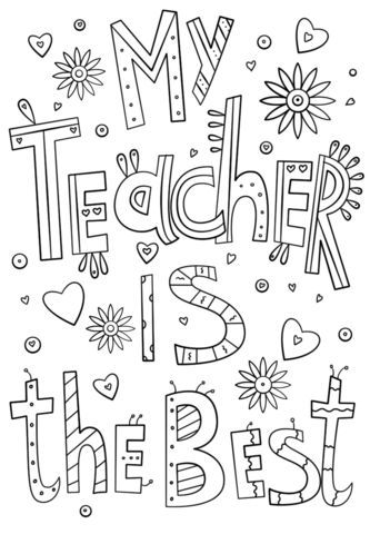 My Teacher Is The Best Doodle Coloring Page From Teacher