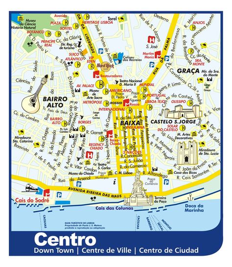 Lisbon Downtown Tourist Map - Lisbon Portugal • mappery