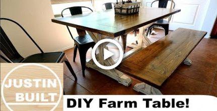 How To Build A Farmhouse Table And Bench Diy Diy Farmhouse