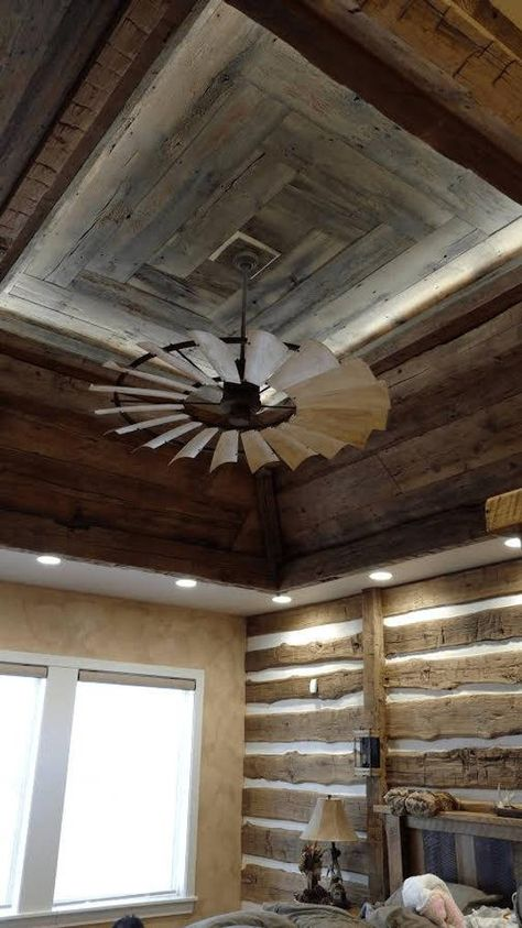 Windmill Ceiling Fan Weathered Finish - March 16 2019 at Home, Barn House Plans, Rustic House, Primitive Homes, Pole Barn Homes, New Homes, House, Building A House, House Interior
