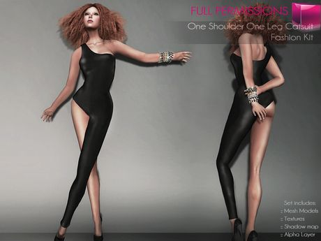 0a42d7c8809 Second Life Marketplace - Full Perm Rigged Mesh One Shoulder One Leg  Catsuit…