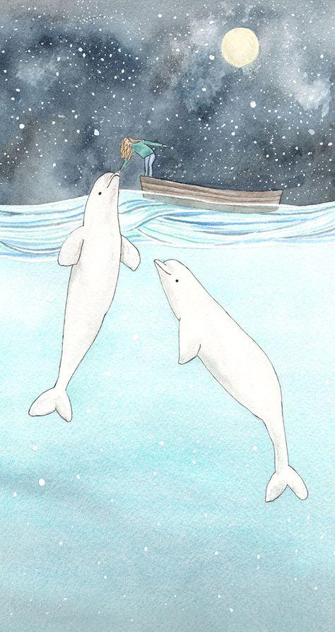 Beluga love Art Print by tinavandijkart Whale Drawing, Whale Painting, Whale Illustration, Whale Tattoos, Marine Life, Love Art, Cute Wallpapers, Art Sketches, Watercolor Paintings
