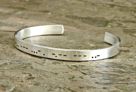 Personalized Morse Code Sterling Silver Cuff Bracelet