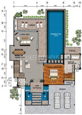 Nat1090 3 4 Bedroom Luxury Sea View Villas Naithon Phuket Buy House Modern House Floor Plans House Floor Plans Pool House Plans