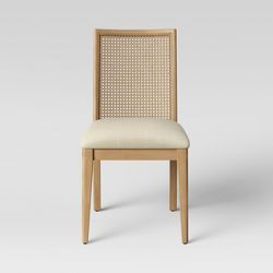 Adelia French Vintage Cottage Weathered Oak Wood Finish And Fabric Upholstered Dining Side Chair With Round Cane Back Beige Baxton Studio Dining Chairs Dinning Room Chairs Wood Dining Chairs