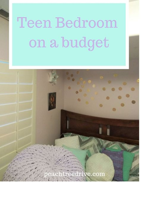 Get ideas for how to do a teen bedroom makeover on a budget of $125. Some diy projects, where to shop for deals and ideas for repurposing things you already have. #budgetdecor #cheapdecor #diydecor #diybedroom #teenbedroom #teenbedroomideas #lavender #mint #mintandlavender #mintandlavenderbedroom #girlroom #teengirl #teengirlbedroom #easydiydecor #teenbedroom #roommakeoveronabudget