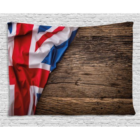 union jack tapestry flag of united kingdom on old oak wooden board rh pinterest com au