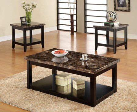 Amazon Com Lawndale 3 Piece Faux Marble Table Top Coffee Table