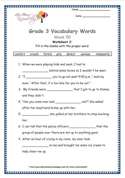 Grade 3 Vocabulary Worksheets Week 50 Vocabulary Worksheets