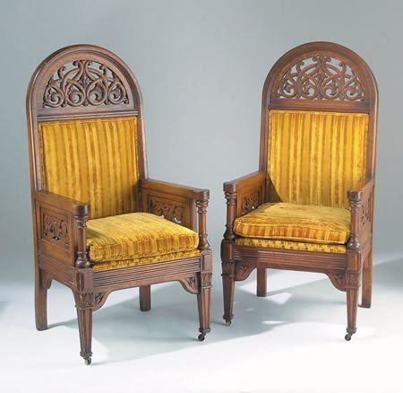 Delicieux C1890 Gothic Arm Chairs, Tobey , Chicago, Oak, 51t, 10 2