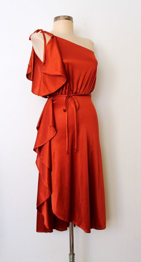 DAME OF DISCO ★ Sexy 70s SHINY RUST Ruffled Disco Dress : Lolavintage.com