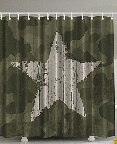 Ranche Western Khaki Camouflage Shower Curtain By Southwestern