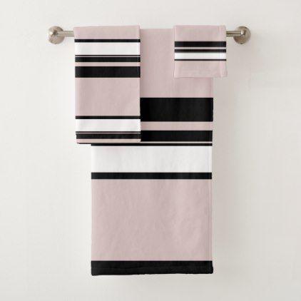 Beige Pink White Black Stripes Classy Stripe Bath Towel Set