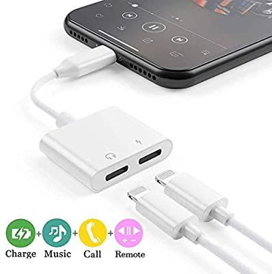 Amazon Com Headphone Adapter Jack For Iphone Charger Koopao 2 In 1 Earphone 3 5mm Dongle Aux Compatible With Iphon Iphone Charger Headphone Apple Accessories