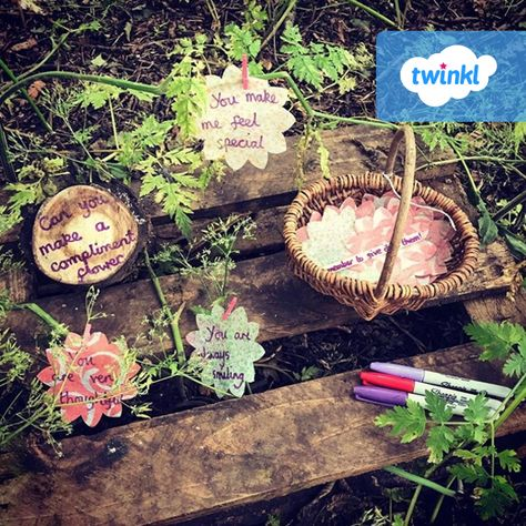 Use nature to inspire your children to spread joy! You could create fab flowers, just like these ones from Emily's Forest School session, and hide them around your indoor or outdoor setting, ready to be discovered and bring a smile to someone's face. Click to download the flower cut-outs and many more resources from our website.   #spring #nature #teaching #teachingresources #teacher #teach #twinkl #twinklresources #parents #homeeducation #homeschool #homelearning #outdoorlearning #outdoorplay