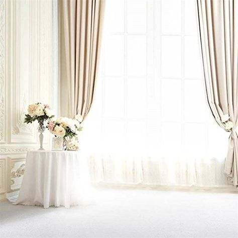 15x10ft Lovers Family Portrait Backdrop Home Balcony Scenery Three Large Window Drapes Photography Background for Wedding Party Events Decoration Photo Studio Props