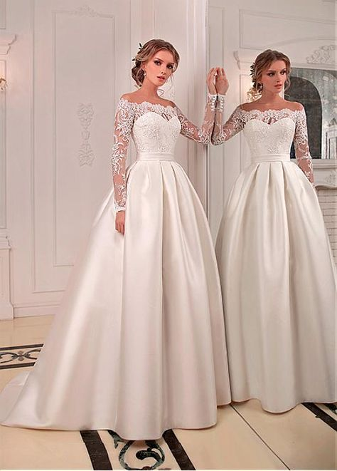 Magbridal Chic Tulle & Satin Jewel Neckline Floor-length A-line Wedding Dresses With Beaded Lace Appliques