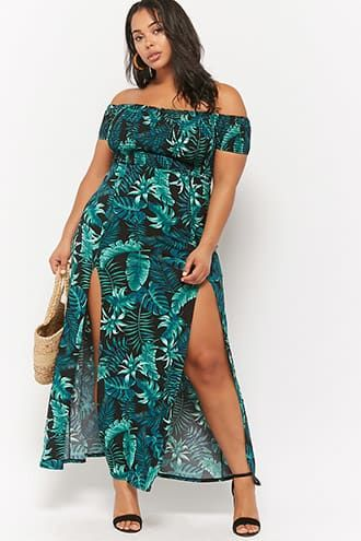 19a6bff294524 Plus Size Leaf Print Maxi Dress | Shop the look products | Plus size ...