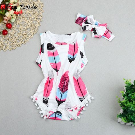 Girls Clothes Set,Infant Newborn Baby Girl Sleeveless Jumpsuit Vest Bodysuit Floral Print Romper+Tassel Bow Headband Hairband Cute Outfits Set