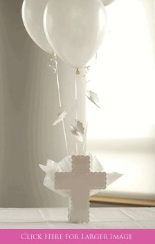 Cross Balloon Centerpiece iwth Flying Angels for Baptism Table Decorations or Angel Baptism Decorations at SetToCelebrate.com