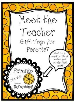 Meet The Teacher Gift Tags For Parents Fresh Start Meet The