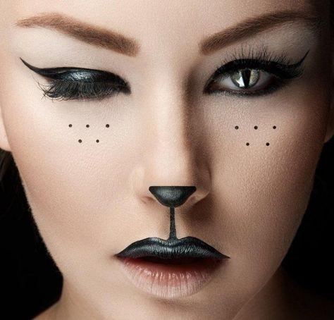 maquillage Halloween visage qui imite un chat