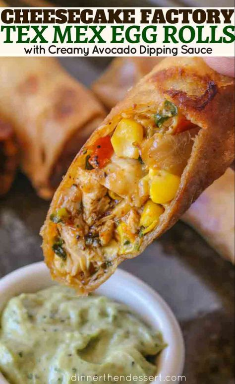 Cheesecake Factory Tex Mex Egg Rolls Copycat made with spiced chicken beans corn bell peppers onions garlic cilantro and cheddar cheese in a crispy egg roll with creamy avocado cilantro dipping sauce. Cheese Cake Factory, Mexican Dishes, Mexican Food Recipes, Air Fryer Recipes Mexican, Finger Food Recipes, Comida Tex Mex, Cheesecake Factory Recipes, Egg Roll Recipes, Recipes With Egg Roll Wrappers