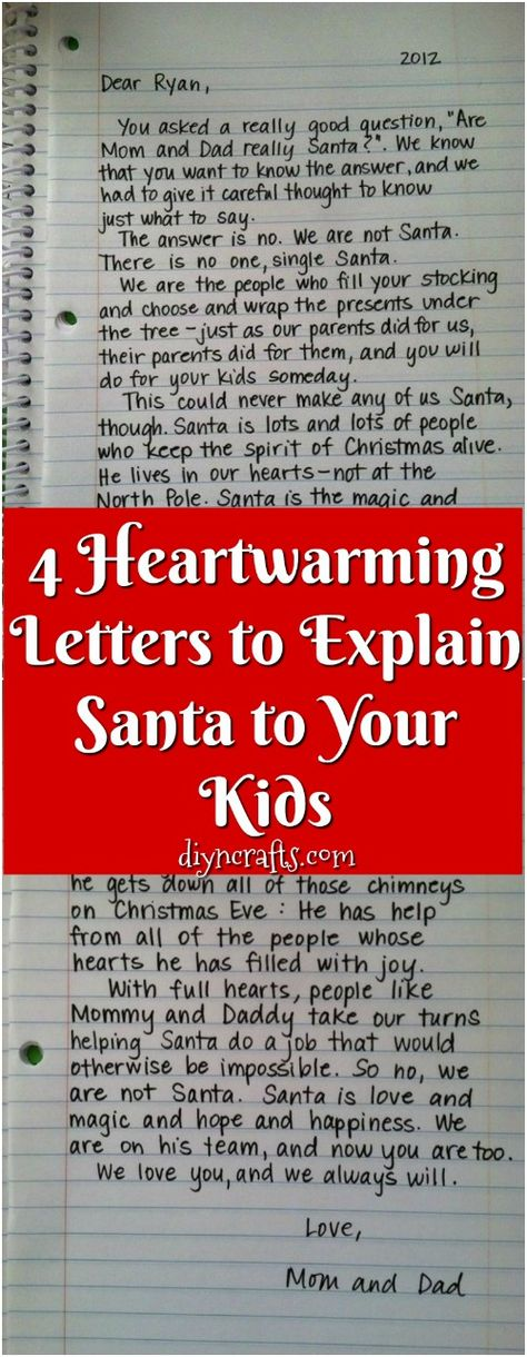 """4 Heartwarming Letters to Explain Santa to Your Kids - There comes a time in every parent's life where they have to have the dreaded """"talk"""". Before the birds and the bees comes the Santa talk. A child will only believe in the jolly, pot-bellied, man for so long before their clever little brains start to see the impossibility of squeezing down every single chimney in the world within the ridiculously short timeframe. #Christmas #parenting #letters #kids #Santa"""