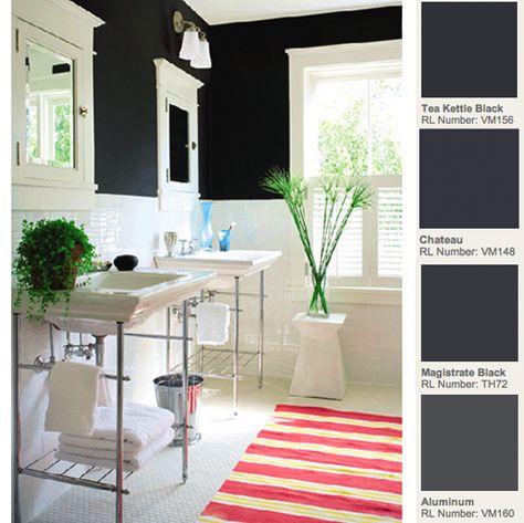 White tile, black walls
