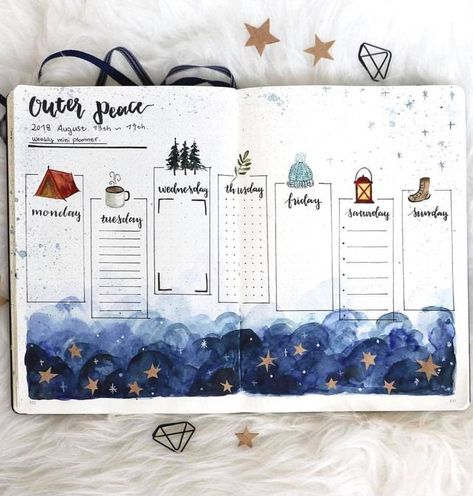 Beautiful wintery bullet journal spread by ig@thepalepaper