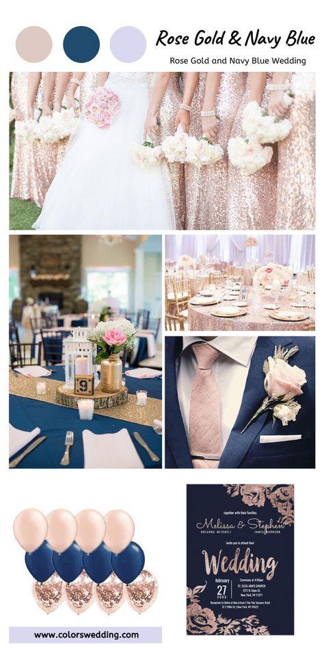 Navy Blue Wedding Theme, Blue And Blush Wedding, Rose Gold Theme, Gold Wedding Colors, White Bridal, Rose Gold Weddings, Spring Wedding Colors Blue, Spring Wedding Themes, Navy Spring Wedding