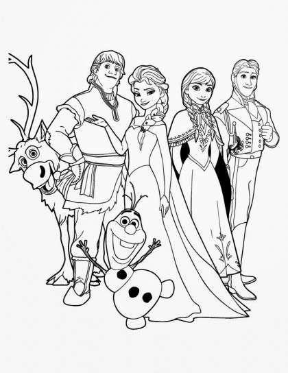 Dibujo De Los Protagonistas De Frozen Para Colorear Frozen Para Colorear Dibujos De Frozen Unicornio Colorear