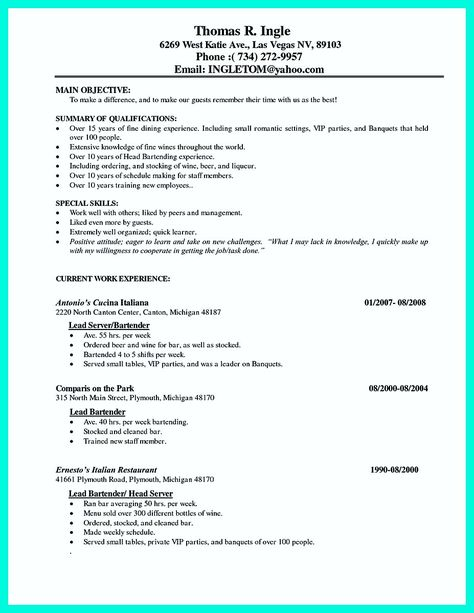 cool Excellent Ways to Make Great Bartender Resume Template, Check - bartending resume skills
