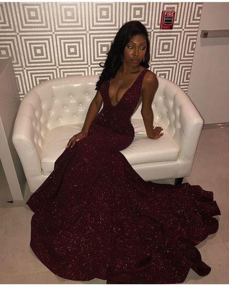 7ad7df53f9ed 2019 V neck Sequin Burgundy Mermaid Prom Dress by PrettyLady on Zibbet
