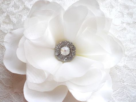 Ava White Bridal Hair Flower or Pin with Diamond Rhinestone Center