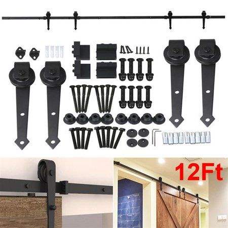 12ft Sliding Barn Door Closet Hardware Set Black Wood Antique Style Double Track Kit System Walmart Com Wood Doors Interior Sliding Barn Door Closet Double Sliding Barn Doors