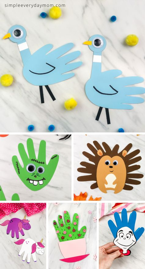 Handprint Crafts For Kids - - Come find all the best ideas of handprint art and crafts for kids! There's Christmas handprint crafts, animal handprint art, Father's Day, Mother's Day and more! Art Ideas For Teens, Art Projects For Adults, Toddler Art Projects, Toddler Crafts, Creative Ideas For Kids, Easy Art Projects, Craft Projects For Kids, Toddler Fun, Christmas Handprint Crafts
