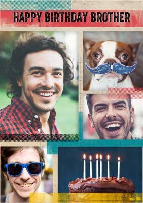Multiple Photo Upload Brother Birthday Card In 2021 Birthday Cards For Brother Photography Magazine Template Brother Birthday