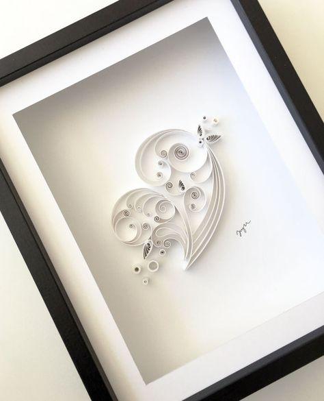 JJBLN Quilled Paper Art By Julide Belen: White Heart