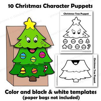 Christmas Craft Activity Holiday Printable Paper Bag Pup Paper Bag Crafts Paper Bag Puppets Holiday Crafts Christmas