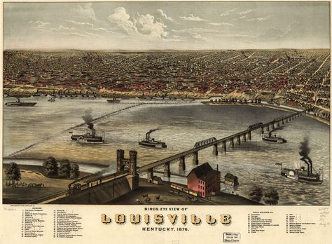 "Aug. 22, 1863: James tried to reassure Molly of his safety: ""recollect that not one day in a month am I in danger whatsoever — usually I am as safe as you."" On the way to rejoining his regiment, James stopped in Louisville, Kentucky. Ruger, A. Bird's Eye View of Louisville, Kentucky 1876. [Chicago: 1876]. Library of Congress Geography and Map Division Washington, D.C. http://www.historyhappenshere.org/archives/7419"