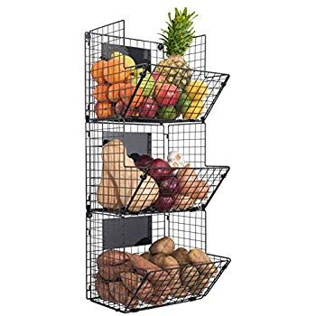 Amazon Com Hanging Fruit Basket Rustic Shelves Metal Wire 3 Tier Wall Mounted Over The Door Organizer Black Wire Basket Hanging Wire Basket Baskets On Wall