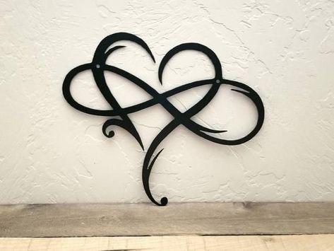 Unendlichkeitszeichen Metallwandkunst Metall Unendlichkeitssymbol und Herz Rustikal Modernes Wanddekor Liebe Wandschild Hochzeitsgeschenke Jubiläumsgeschenk Liebe