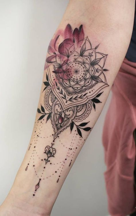 floral mandala tattoo with watercolour touches