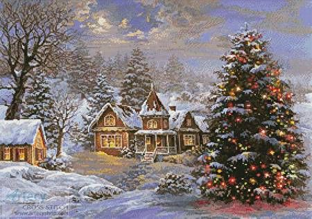 Happy Holidays Painting - cross stitch pattern designed by Tereena Clarke. Category: Christmas.