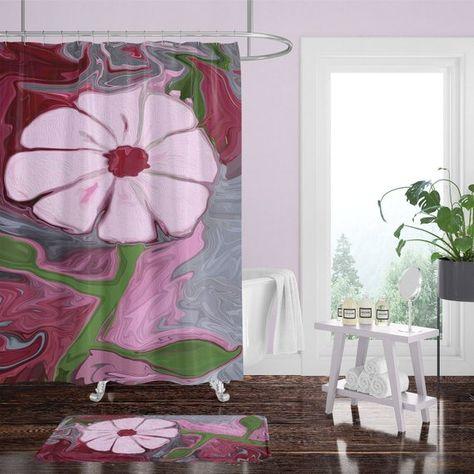 Red Pink Boho Flower Shower Curtain W Bathmat Set Options