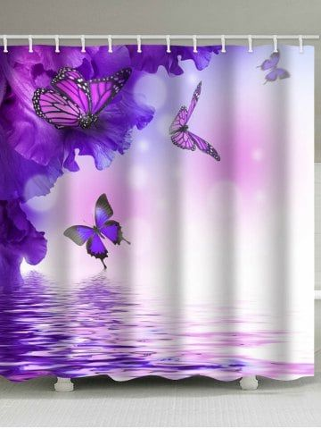 Flowers And Flying Butterflies On The Water Printed Bath Curtain